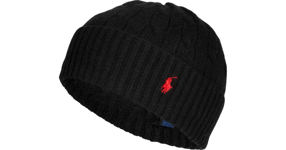 0d5e30b3d2b Polo Ralph Lauren Merino Wool-cashmere Cable Knit Hat in Black - Lyst
