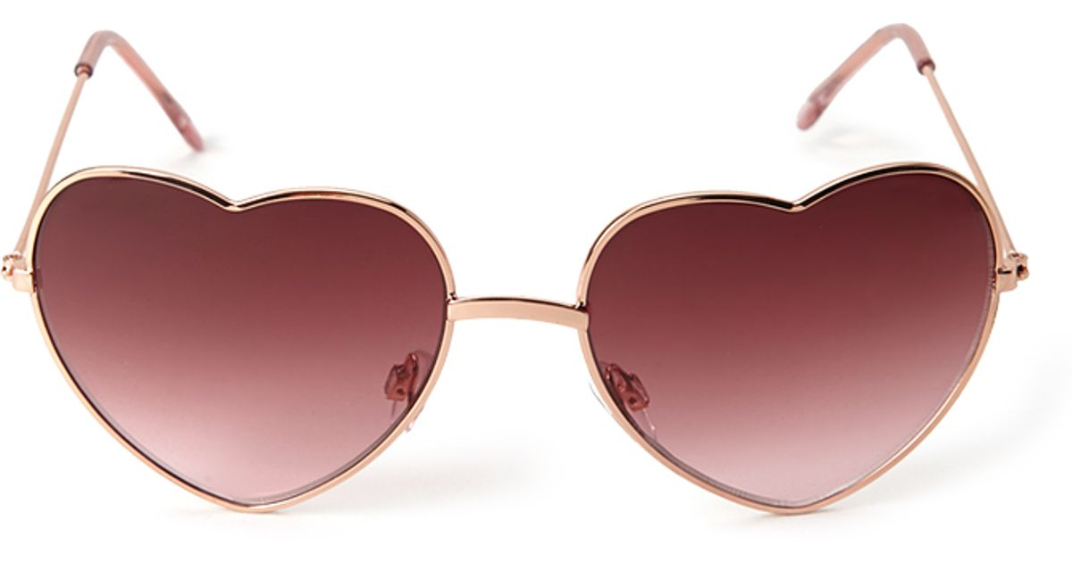 957b9d6fd3 Forever 21 Heartshaped Sunglasses in Pink - Lyst
