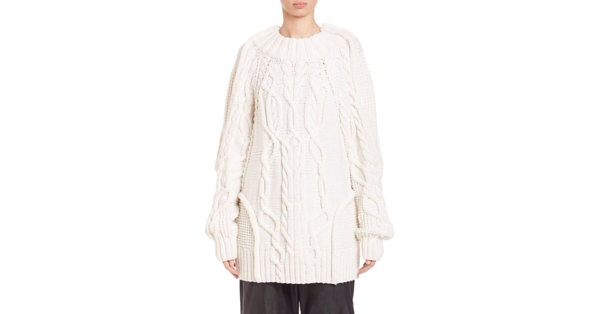 Vera wang Oversized Wool Fisherman Cable Sweater in White | Lyst