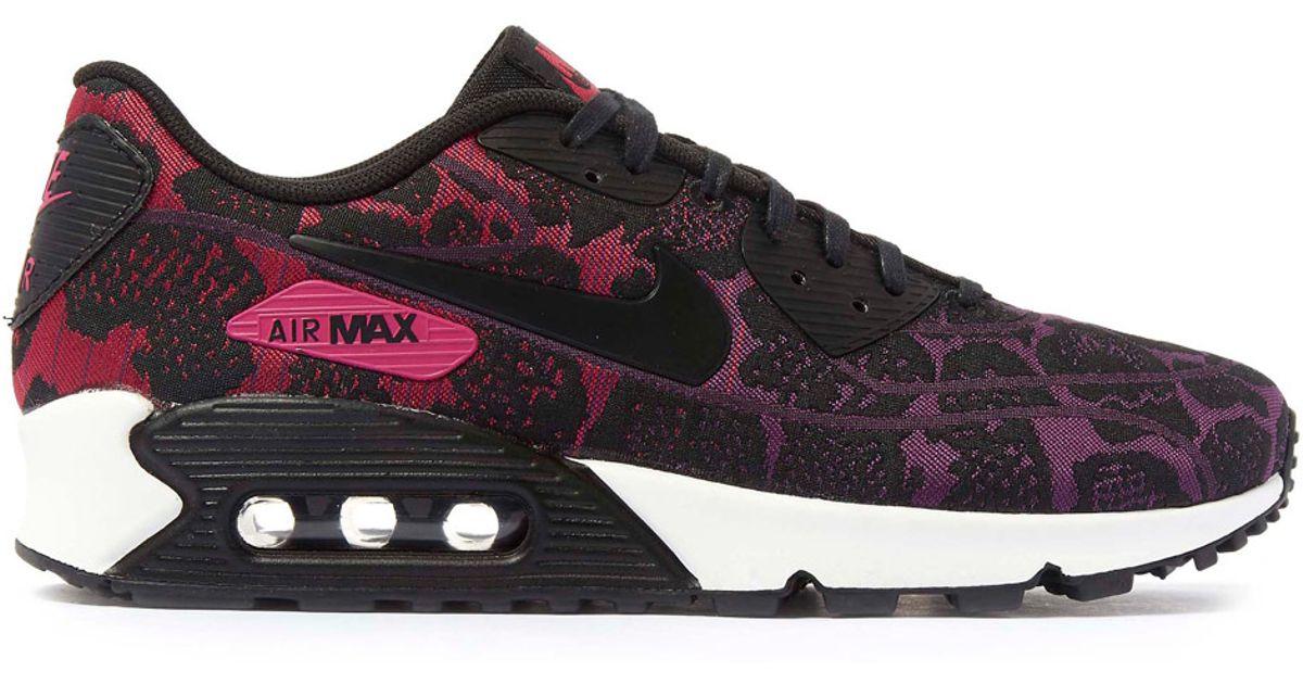 NIKE AIR MAX 90 Jacquard Women's 10 Black Purple Fuchsia lace