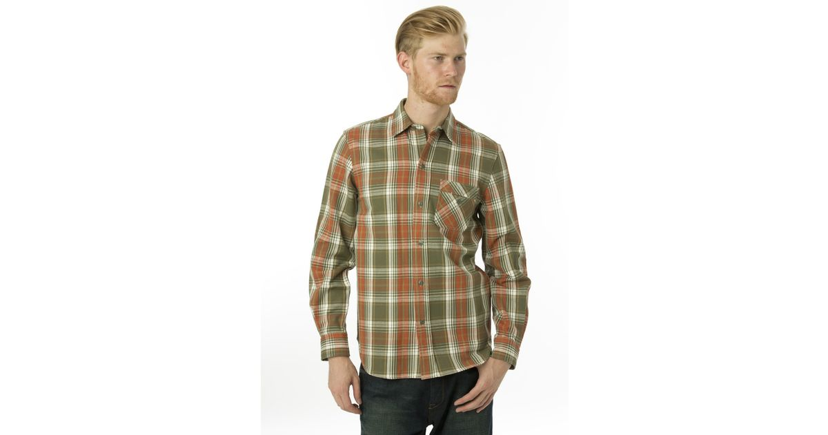 Under two flags heavyweight plaid shirt in green for men for Plaid shirt under sweater