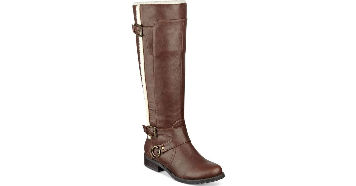Lyst G By Guess Hollow Riding Boots In Brown