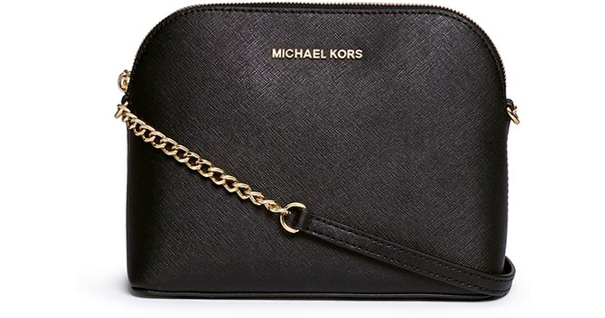 Michael Kors Cindy Large Saffiano Leather Crossbody Bag In Black Lyst