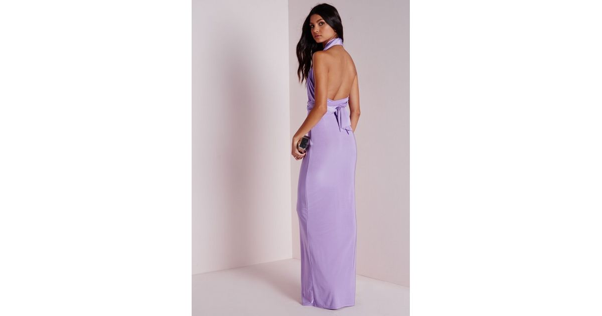 5965f1ee8d Missguided Do It Any Way Multiway Slinky Maxi Dress Purple in Purple - Lyst