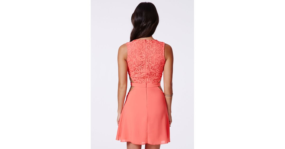 01db887272 Lyst - Missguided Roksy Coral Lace Plunge Cut Out Dress in Red