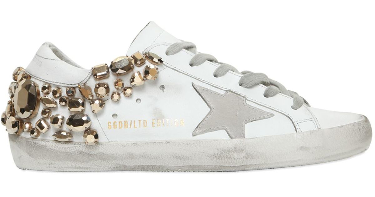 lyst golden goose deluxe brand super star swarovski leather sneakers in white. Black Bedroom Furniture Sets. Home Design Ideas