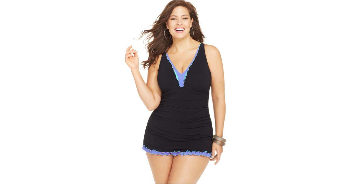9b6cfa594fd Gottex Plus Size Ruffled Halter One-Piece Swimdress in Black - Lyst