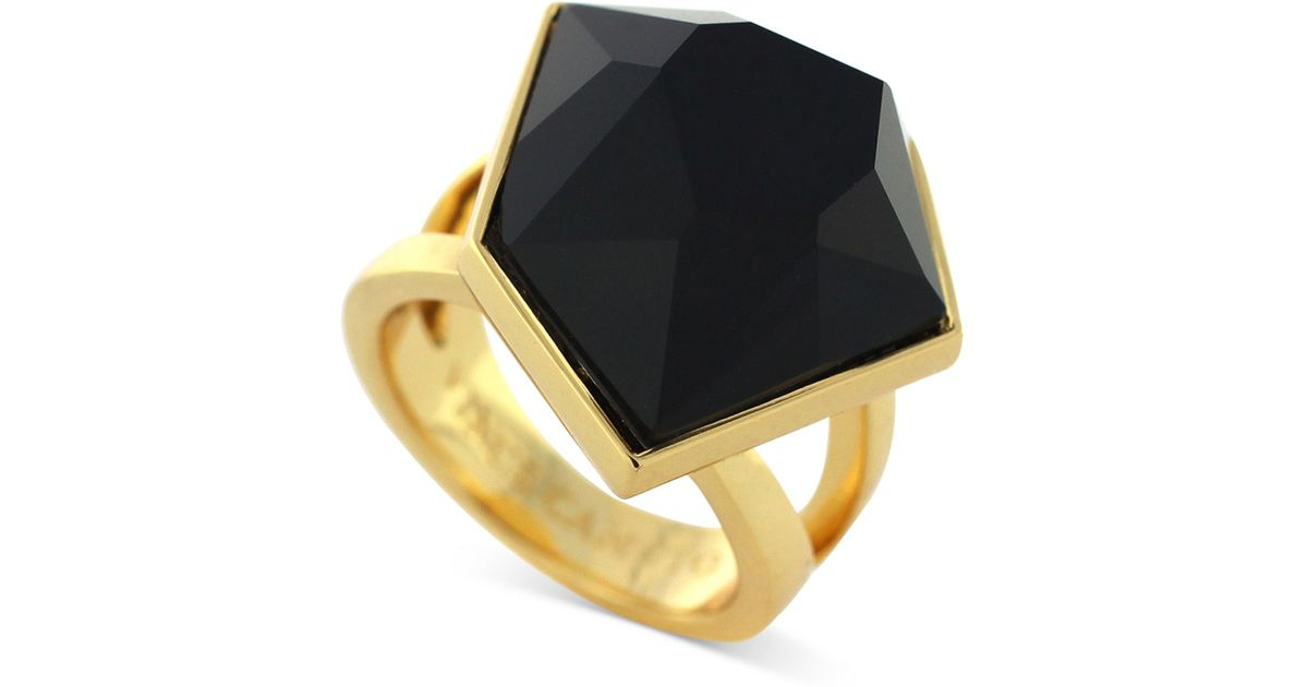Lyst Vince camuto Gold Tone Black Stone Cocktail Ring in Metallic
