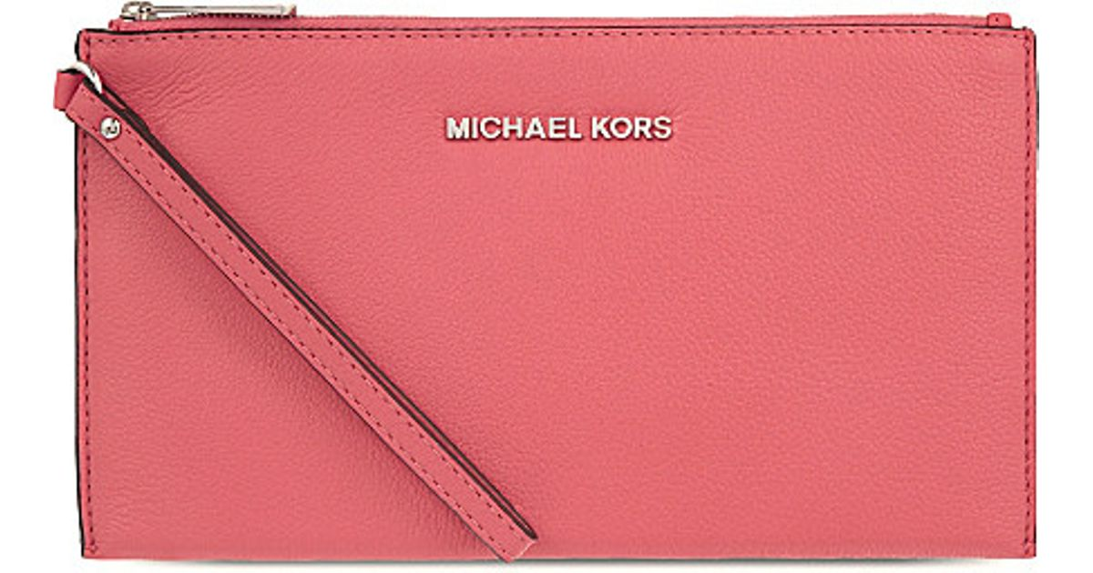 c20e4ca74b14 Lyst - MICHAEL Michael Kors Bedford Large Leather Clutch in Pink