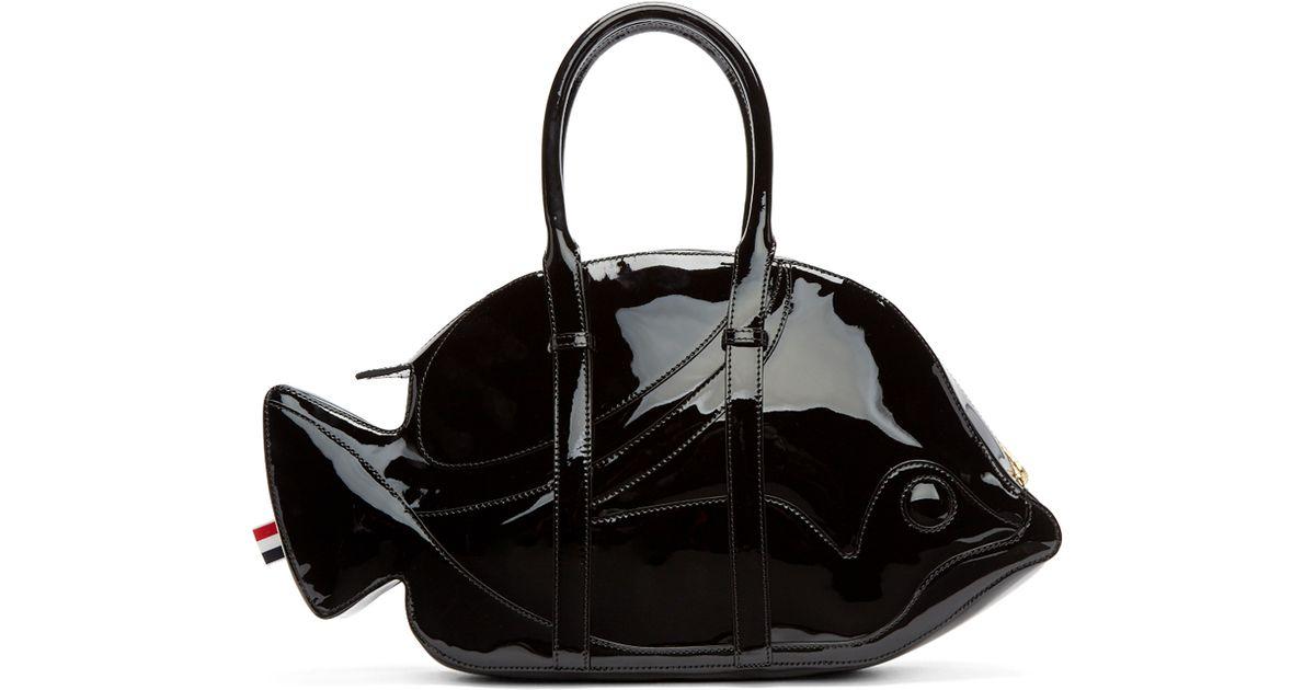 b5f2d5183 Thom Browne Black Patent Leather Trigger Reef Fish Duffle Bag in Black -  Lyst