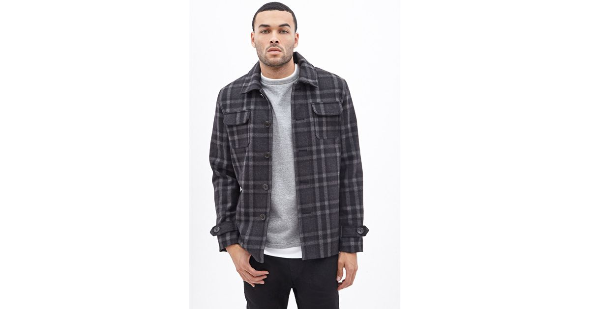 Forever 21 plaid workwear shirt jacket in gray for men lyst for Grey plaid shirt womens