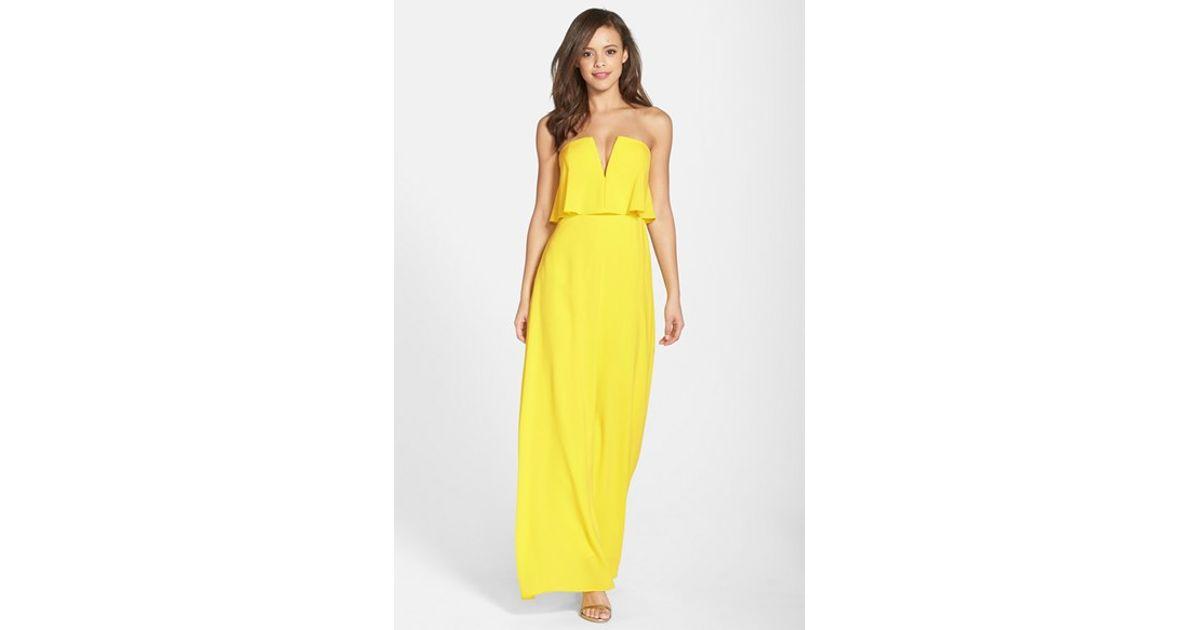 1d6e3cc179b4 BCBGMAXAZRIA 'alyse' Strapless Maxi Dress in Yellow - Lyst