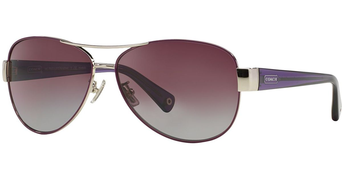 53ddbe3521 Lyst - COACH Kristina Aviator Sunglasses in Purple
