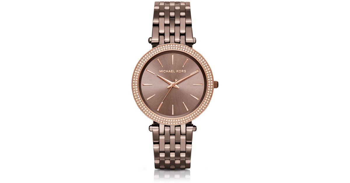 4899a313f5bf Lyst - Michael Kors Darci Pave Sable Watch in Brown
