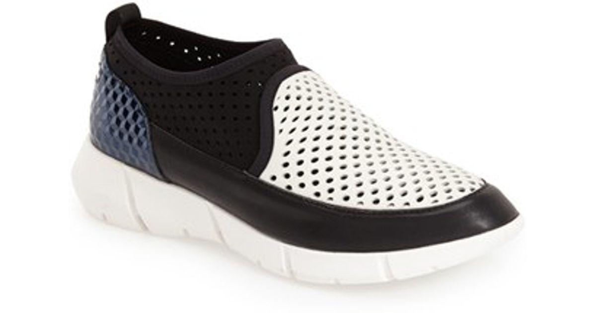lyst calvin klein winona perforated neoprene sneakers in. Black Bedroom Furniture Sets. Home Design Ideas