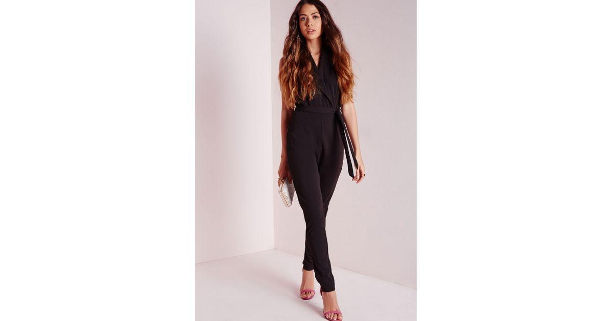 9140cc75eaf Missguided Halterneck Tux Lapel Jumpsuit Black in Black - Lyst