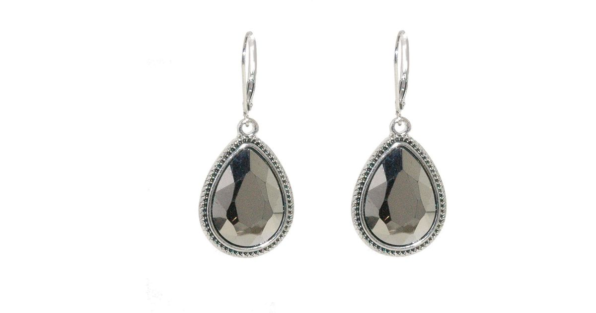 1928 silver faceted hematite drop earrings in metallic lyst