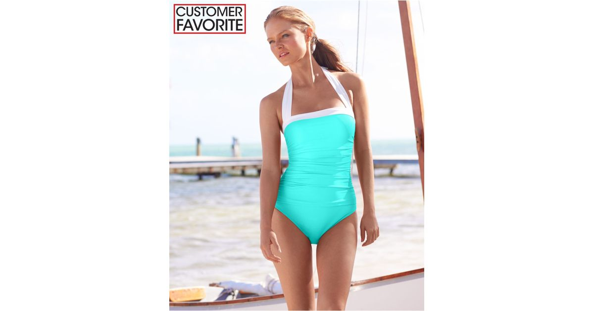 6ed468bc90 Lyst - Lauren by Ralph Lauren Ruched Tummy-Control Halter One-Piece Swimsuit  in Green
