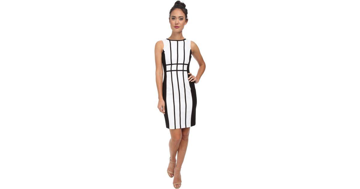 258833dff910 Lyst - Calvin Klein Grid Pattern Color Block Dress Cd5X17L9 in White
