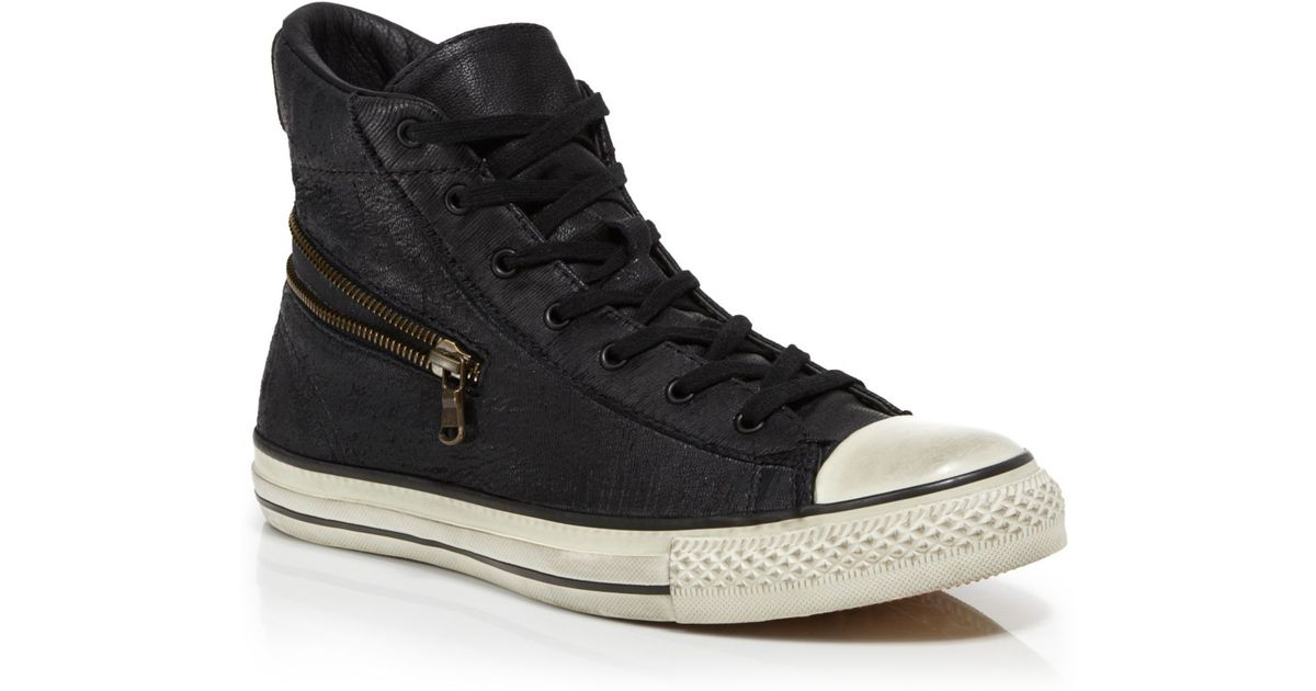 c46dbad9d04 ... top quality converse by john varvatos all star scratched leather zip  sneakers in black for men