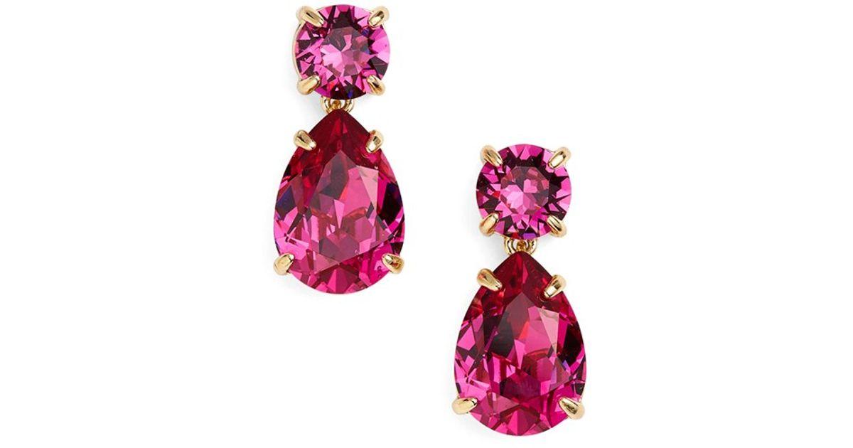 5172e50c9 Kate Spade Crystal Drop Earrings - Fuschia in Pink - Lyst