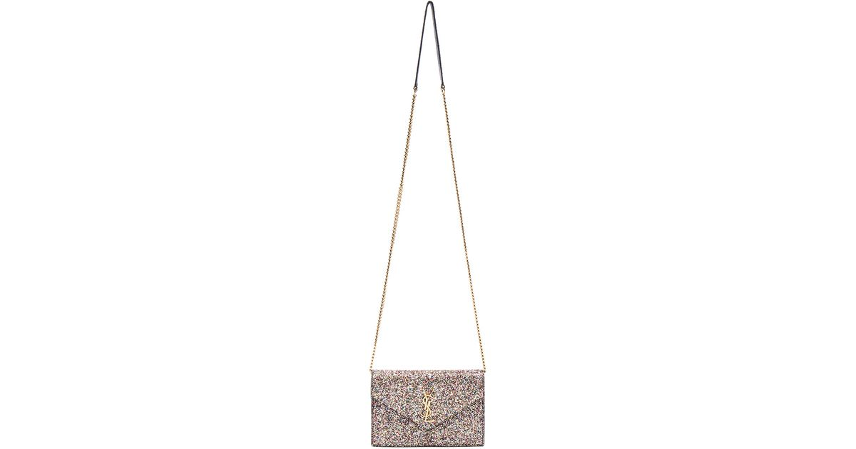 ysl ysl - Saint laurent Monogramme Glitter Envelope Chain Wallet in Pink ...