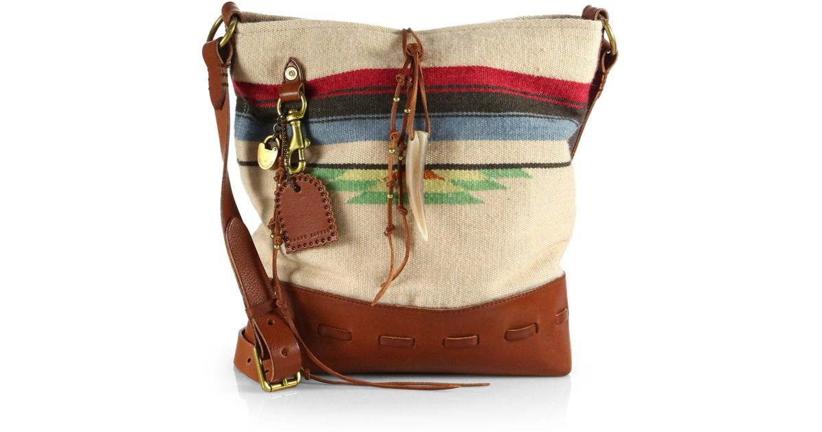 d14134f0a062 Lyst - Ralph Lauren Collection Leathertrimmed Woven Blanket Hobo Bag