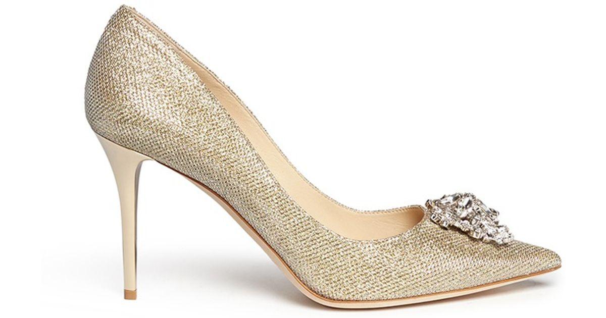 bb757885a8 Jimmy Choo 'mamey' Crystal Toe Brooch Lamé Glitter Pumps in Metallic - Lyst
