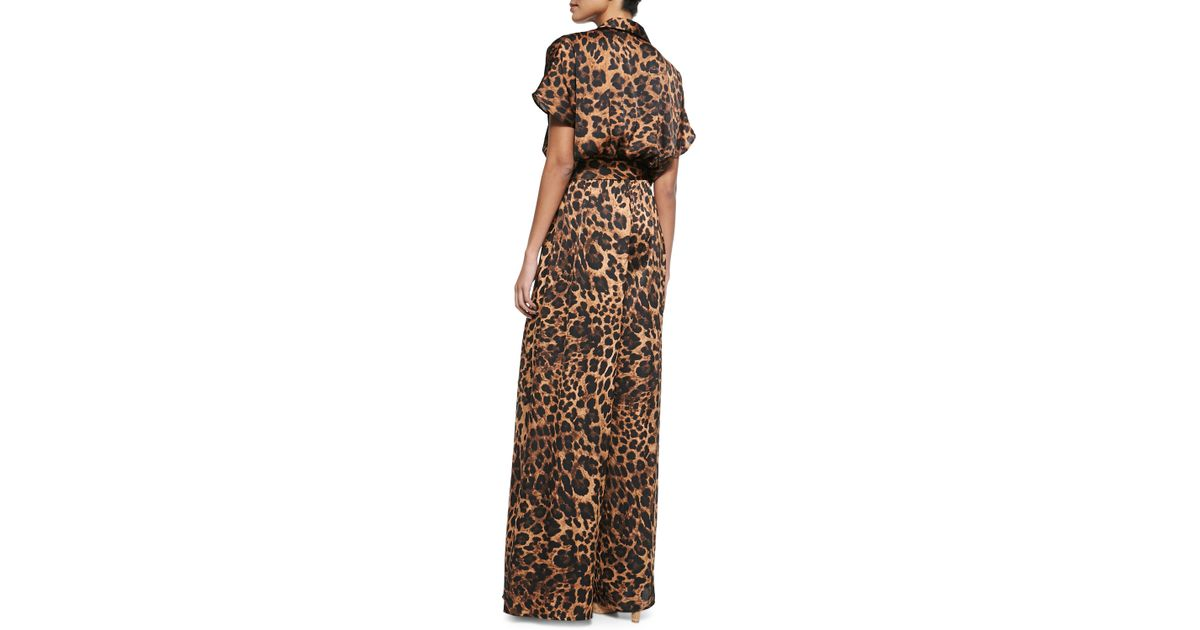 38b8ae563fda Lyst - MICHAEL Michael Kors Vesler Short-Sleeve Animal-Print Jumpsuit