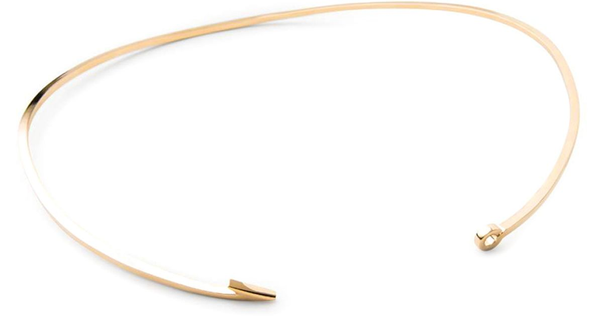 Miansai thin gold fish hook necklace in gold save 20 lyst for Gold fish hook necklace