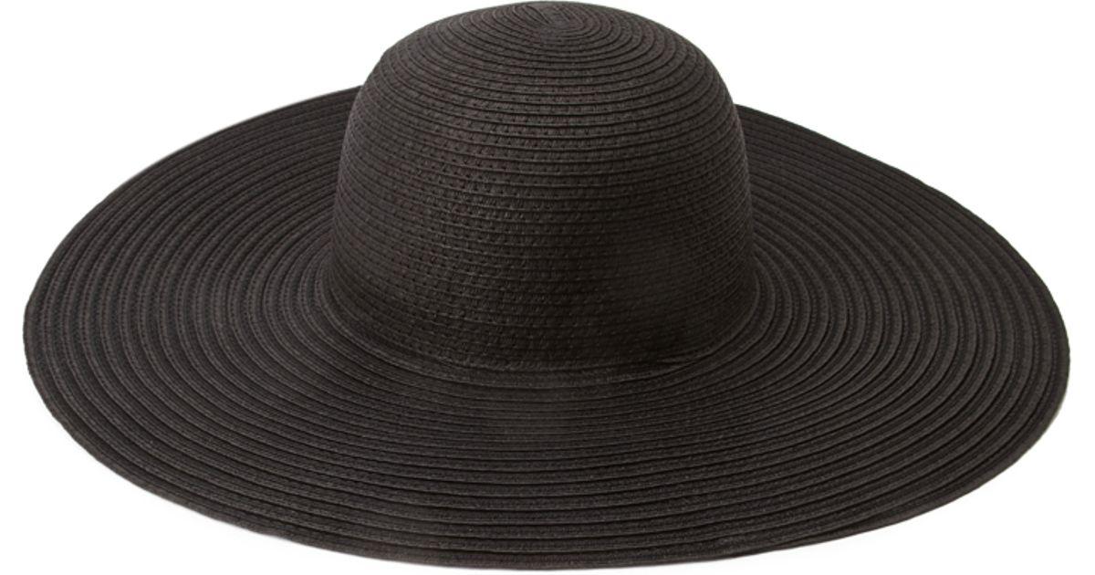 7ee6caf4570 Greatest Lyst - Forever 21 Floppy Wide-brim Straw Hat in Black RD73