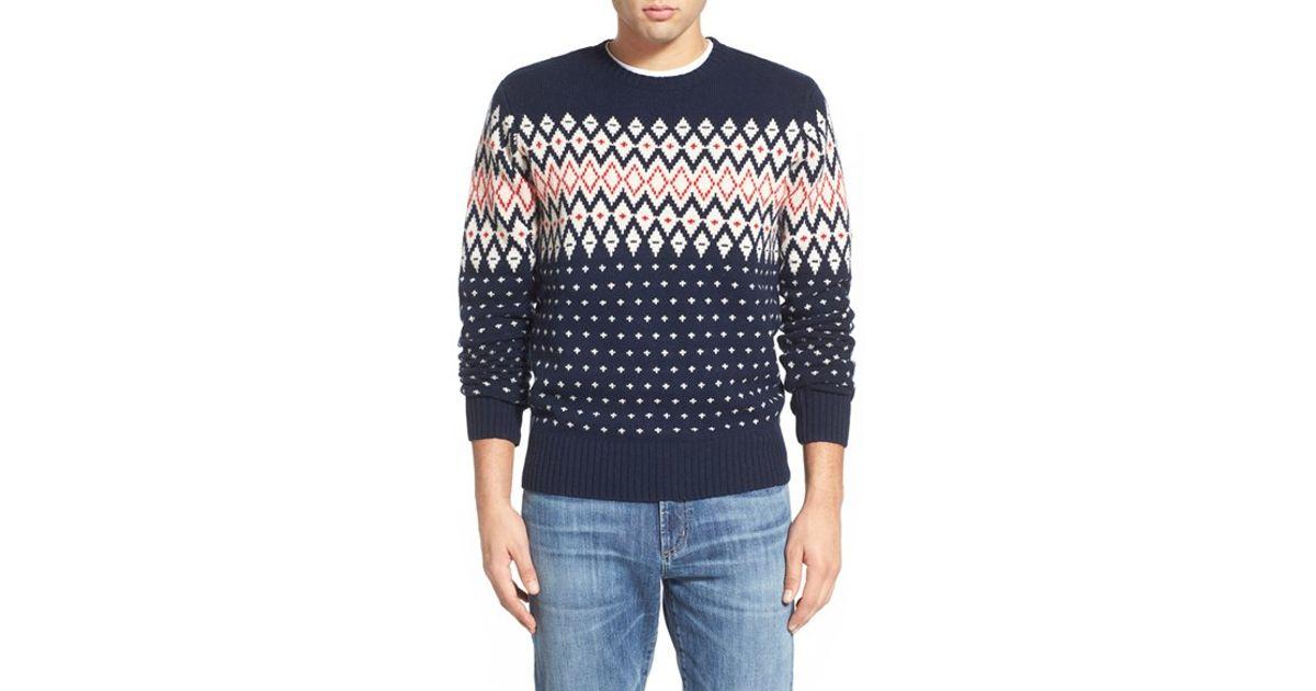 Gant Lambswool Fair Isle Crewneck Sweater in Blue for Men   Lyst