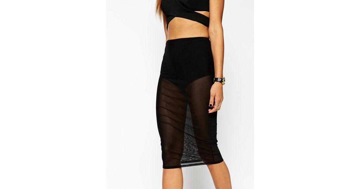 f691f28b85 ASOS Pencil Skirt In Sheer Mesh With Underwear in Black - Lyst