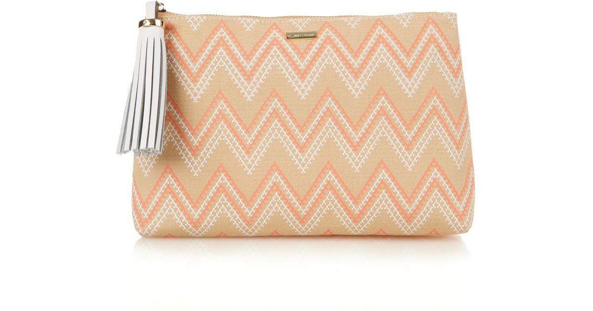 cloe purses - Melissa odabash Ibiza Aztec-print Canvas Clutch in Pink (CORAL) | Lyst