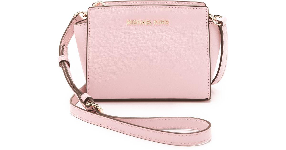 7af1e25f187a ... promo code for michael michael kors selma mini messenger bag blossom in pink  lyst 6f4ef 48059
