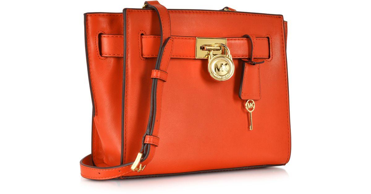 2c8aeb05e5ec Lyst - Michael Kors Hamilton Traveler Leather Messenger in Red