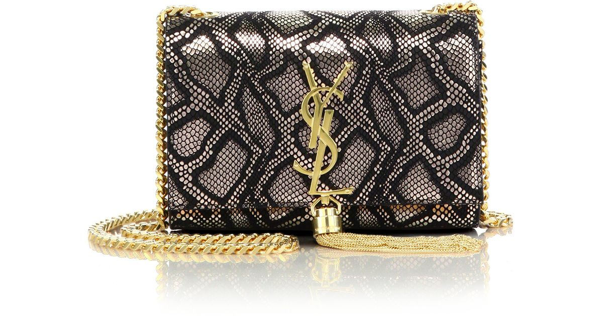 b7cf70a338e Lyst - Saint Laurent Monogram Small Metallic Reptile-embossed Leather Tassel  Crossbody Bag in Metallic