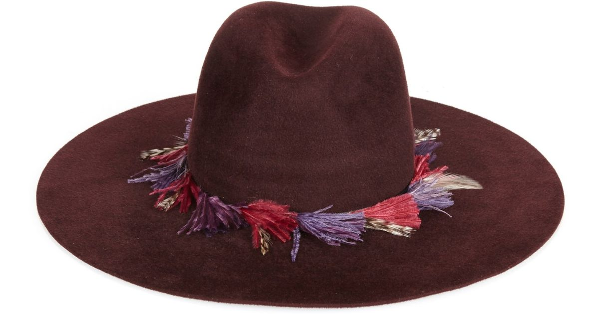 a28c6da7cb8 Filù Hats Chamonix Ostrich-Feather Wide-Brimmed Hat in Purple - Lyst