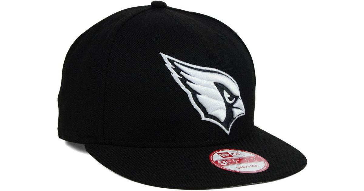 brand new 2eff5 63533 ... sale lyst ktz arizona cardinals black white 9fifty snapback cap in  black for men 620c9 67d9c