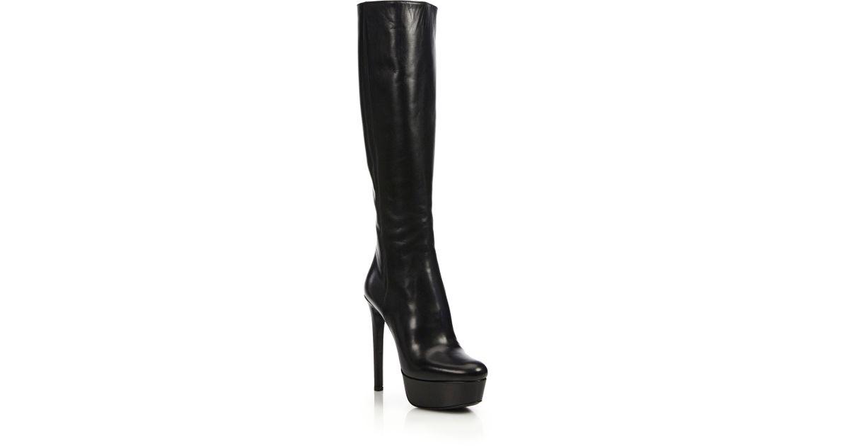 prada leather knee high platform boots in black lyst