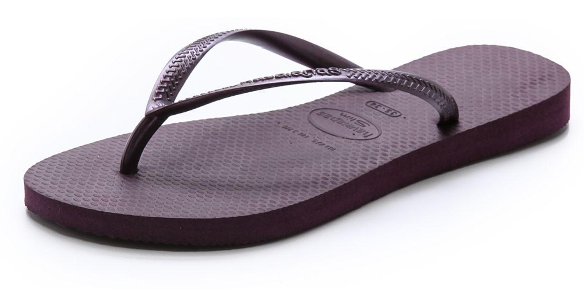 6878635640e2c Lyst - Havaianas Slim Flip Flops in Purple