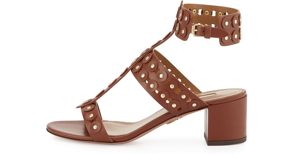 Aquazzura Leather Studded Sandals discount footaction free shipping low shipping fee cheap 2014 new gtYJL