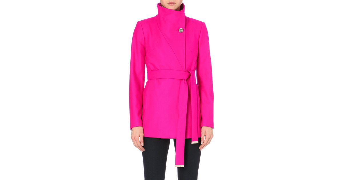3372a0fef142b2 Ted Baker Short Wool and Cashmere Blend Wrap Coat in Pink - Lyst