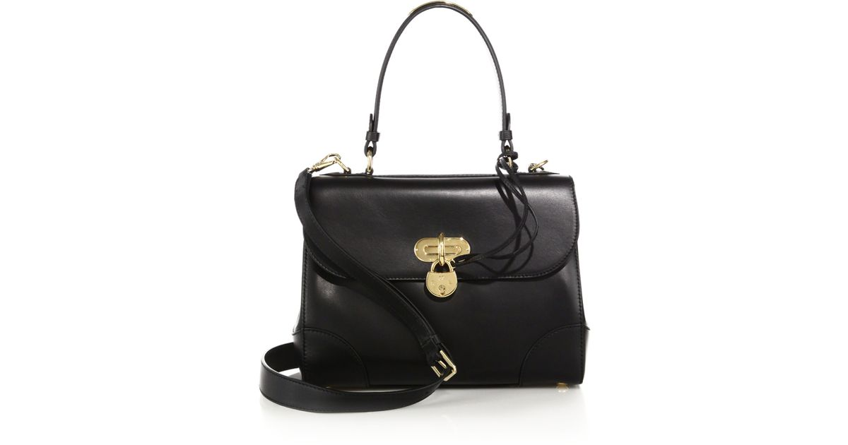 acb01a2196 Lyst - Ralph Lauren Collection Tiffin Small Leather Top-handle Satchel in  Black