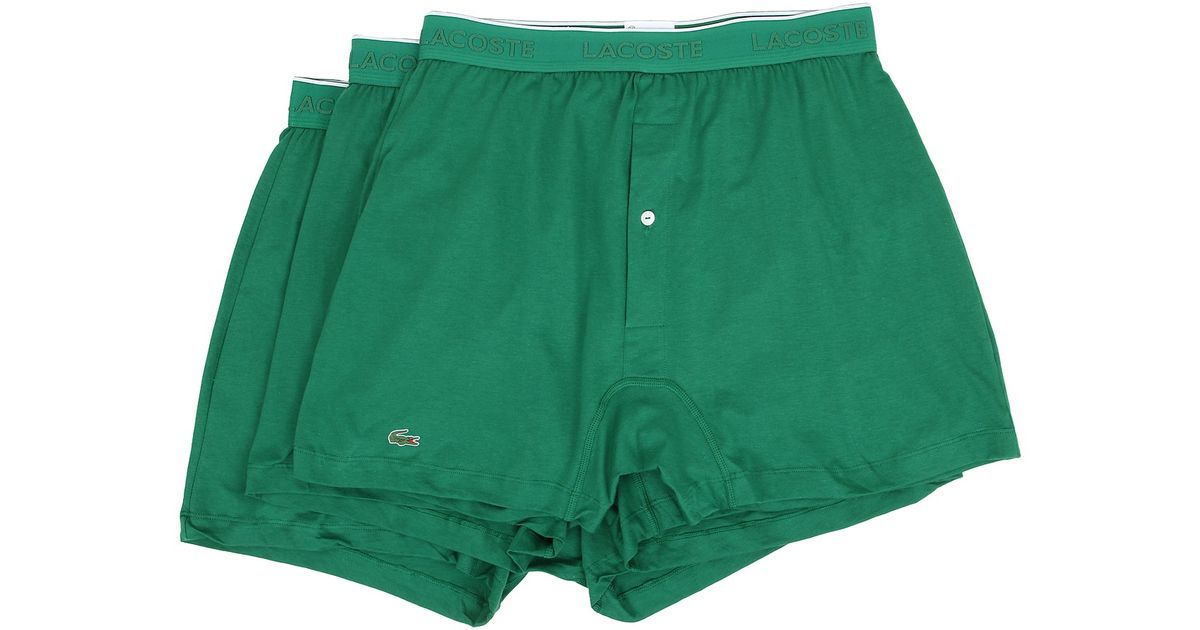 46d6d27a1a8cd1 Lyst - Lacoste Essentials 3-pack Knit Boxer in Green for Men
