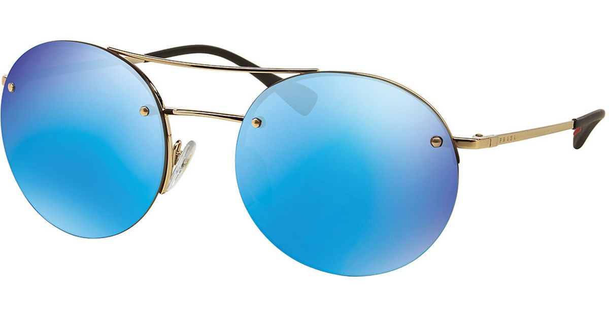 Prada Rimless Round Sunglasses With Mirror Frames in Blue ...
