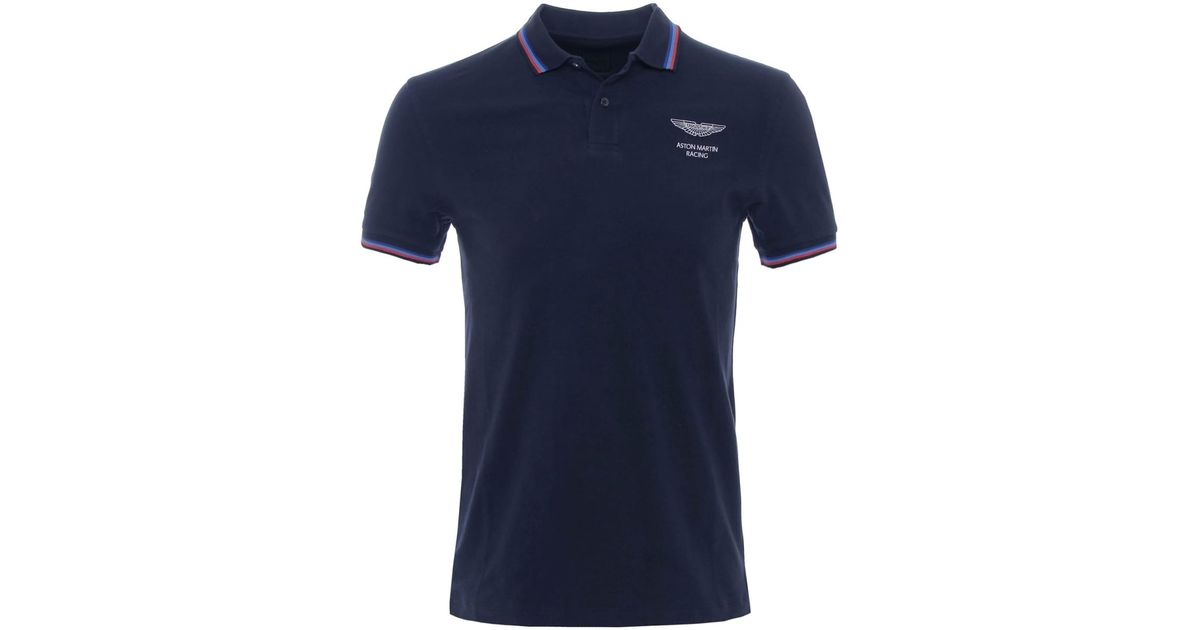 Hackett aston martin racing plain polo shirt in blue for for Plain navy polo shirts