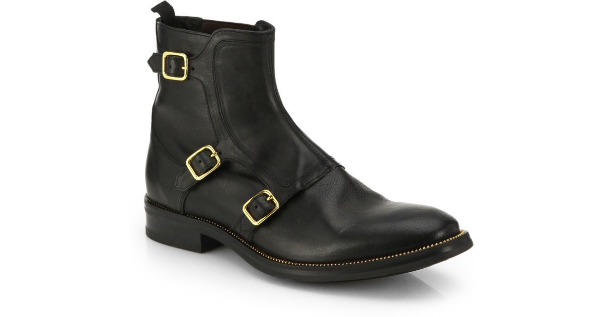 mcqueen three buckle leather ankle boots in