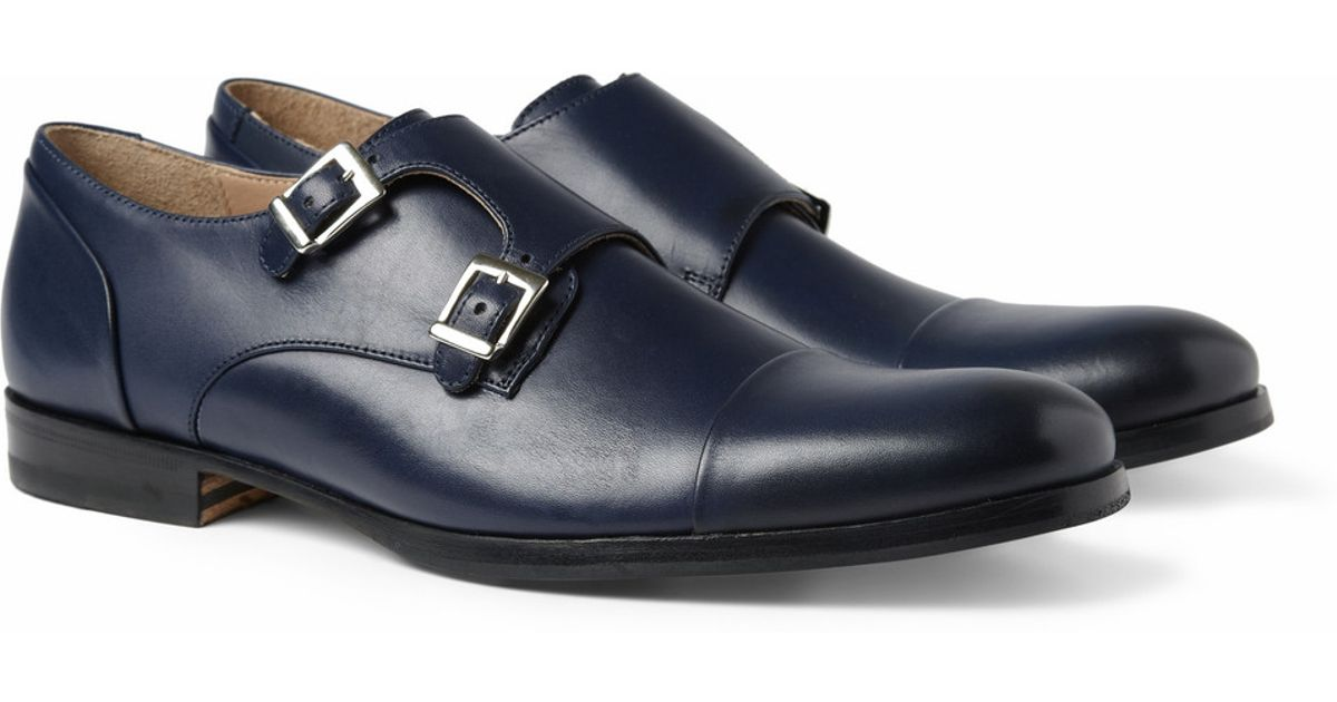 40e3baa8b356 Mr. Hare Leather Double Monk-Strap Shoes in Blue for Men - Lyst