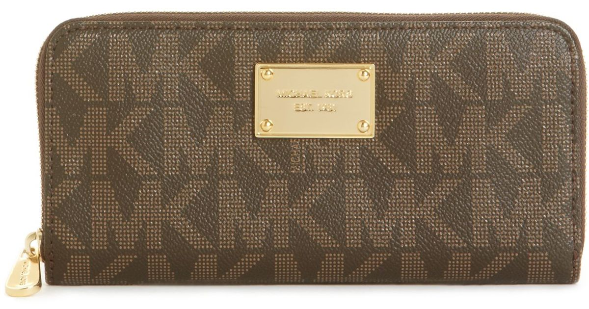 68f9a7774744 Michael Kors Michael Mk Logo Zip Around Continental Wallet in Brown - Lyst